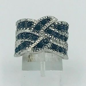 BLUE & SILVER COCKTAIL RING